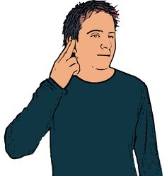 Deaf - Index and middle fingers extended ('N' shape) touch ear. British Sign Language (BSL)