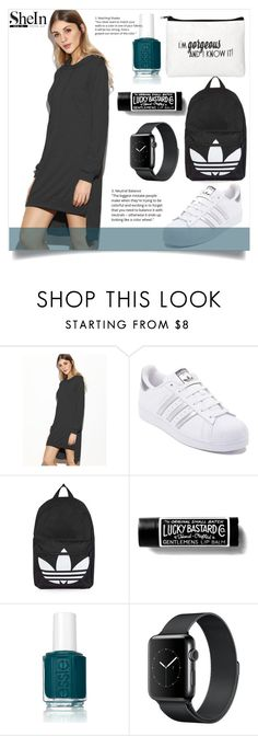 """Black Dress"" by anemone-ci ❤ liked on Polyvore featuring adidas, Topshop and Essie"