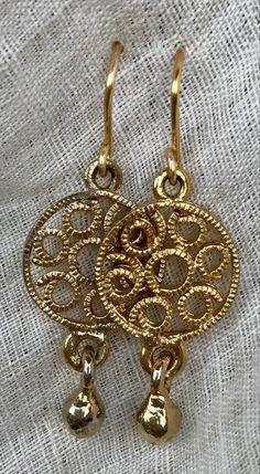 Spiral, Plating, Pendant Necklace, Earrings, Gold, Vintage, Jewelry, Ear Rings, Stud Earrings