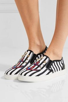 Dolce & Gabbana - Embellished Striped Textured-leather Slip-on Sneakers - White