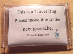 A Bug BAg - Geocaching Travel Bug Protective Vinyl Bag - Mini 2 x 3. $4.00, via Etsy.
