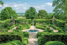 Massive boxwoods more than 100 years old act as the backbone to this breathtaking garden, while a geometricboxwood parterre lines the lower terrace.    See more of this Trim
