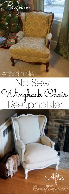 Super affordable, DIY, no sew wingback chair re-upholster. What a transformation!