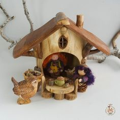 Woodland Gnome Lodge with  Furnishings by willodel on Etsy, $72.00