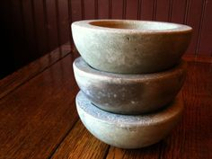 3 Concrete Bowl Set  Rustic  Minimalist by BungalowStreet on Etsy, $47.00