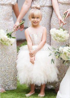 Sheer Neckline Champagne Gold Sequin Ruffle Tulle Knee Length Flower Girl Dress