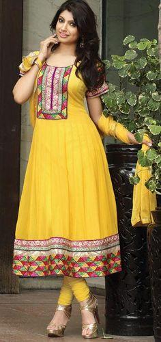 $134.42 Yellow Thread Work Faux Georgette Anarkali Salwar Suit 24236