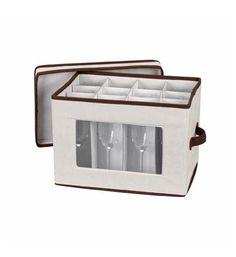 Household Essentials Stemware Storage Chest/Flute Canvas with Trim, Beige/Bisque Mug Storage, Plate Storage, Storage Sets, Hanging Wine Glass Rack, China Storage, Dining Plates, Brown Trim, 5 D, Dinnerware