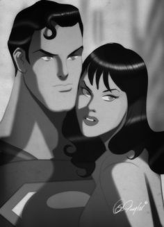 Happy Valentines Day- The Super Couple-  Silver Screen Black and White.