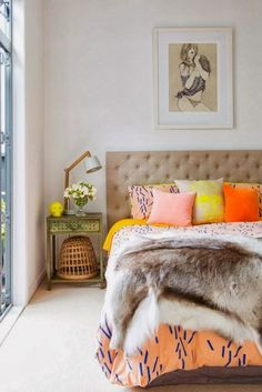 Whoever said neon wasn't glamorous needs to check out this bedroom.
