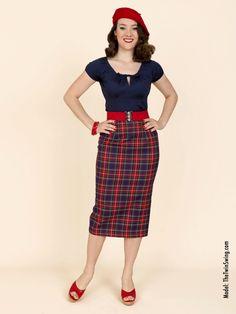 Pencil Skirt Navy Tartan from Vivien of Holloway
