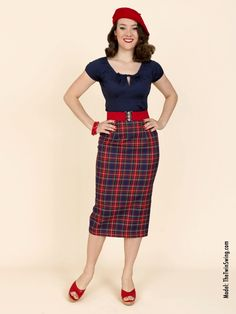 Pencil Skirt Navy Tartan from Vivien of Holloway