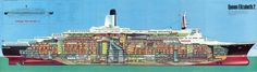 Queen Elizabeth 2 Ship Gallery 1969 (click or tap for higher. Rms Queen Elizabeth, Qe 2, Uss Lexington, Falklands War, Technical Illustration, Deck Plans, Ways To Travel, Cutaway, France