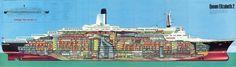 Queen Elizabeth 2 Ship Gallery 1969 (click or tap for higher. Qe 2, Rms Queen Elizabeth, Uss Lexington, Falklands War, Deck Plans, Ways To Travel, Cutaway, France, Titanic