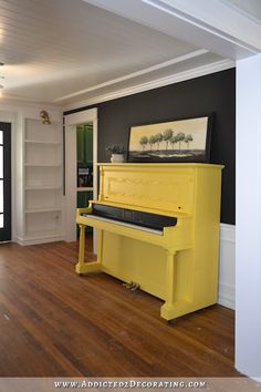 """Yellow piano in a black and white music room - Addicted 2 Decorating®Black and white music room with yellow piano - Pillowcase Pink Gray Cats Piano Keyboard Music Room Nursery 16 """"Pillowcase Sham Gray Office Music, Shoji White, Painted Pianos, Record Cabinet, Music Studio Room, Industrial Music, Industrial Farmhouse, White Paint Colors, Floor Colors"""