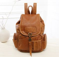 Popular Large-Capacity Vintage Leather Drawstring Fashion Backpack 5 Colors