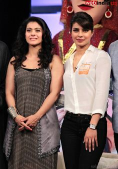 Bollywood actors #PriyankaChopra and #KajolDevgn,during NDTV's Our Girl Our Pride fund raising campaign in Mumbai, India on December 01, 2013. http://movie.webindia123.com/movie/asp/event_gallery.asp?cat_id=2&p_id=0&e_no=6612