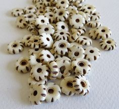 Small Notched Bone Disk Beads Spacers  Hand by WildDoveBeads