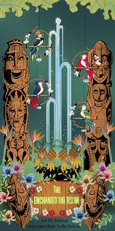 Welcome to Walt Disneys Enchanted Tiki Room! Being your Dole Whip and sing like the birdies sing. Inspired by the Enchante Tiki Room at Disneyland, CA. Vintage Disney Posters, Vintage Disneyland, Disney Love, Disney Magic, Tiki Art, Tiki Tiki, Joey Chou, Pixar, Disney Enchanted