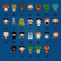 Star Wars Alphabet: A=Ackbar, B=Bossk, C=Chewbacca, D=Dash Rendar, E=Ewok, F=Fett, G=Greedo, H=Han Solo, I=IG-88, J=Jabba, K=Kyle Katarn, L=Leia, M=Mara Jade, N=Nien Nunb, O=Obi-Wan, P=Palpatine, Q=Quinlan Vos, R=R2-D2, S=Skywalker, T=Thrawn, U=Ulic Qel-Droma, V=Vader, W=Wedge, X=Xizor, Y=Yoda, Z=Zuckuss