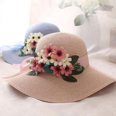 Women Flowers Straw Hat Summer Casual Beach Hat Travel Sun Hats All-Match - Products - Spring Hats, Summer Hats, Spring Summer Fashion, Style Summer, Summer Sun, Summer Beach, Tea Hats, Sun Hats For Women, Flower Hats