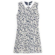 Floral-Print Flowy Dress ($25) ❤ liked on Polyvore featuring dresses, floral print sleeveless dress, sleeveless dress, no sleeve dress, flower pattern dress and botanical dress