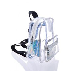 Current Mood Light Show Mini Backpack ($50) ❤ liked on Polyvore featuring bags, backpacks, crystal clear bags, day pack backpack, clear pvc backpack, pvc bag and mini bag