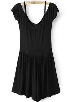 Black Off the Shoulder Spaghetti Strap Jumpsuit 22.03. This would be a good dress to do a tap dance performance in.