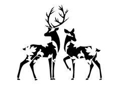 Vector Preto E Branco Vintage design deers stencil. Deer Stencil, Animal Stencil, Stencil Art, Stencil Printing, Hirsch Silhouette, Silhouette Art, Stencil Patterns, Stencil Designs, Machine Silhouette Portrait
