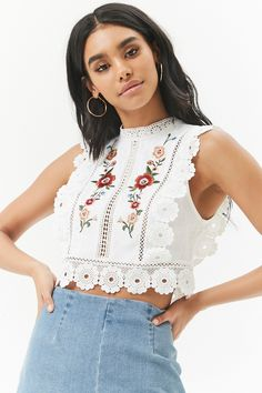 Product Name:Linen-Blend Floral Embroidered Lace-Trim Crop Top, Category:top_blouses, Price:22.9