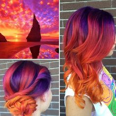 Pretty Hair Color, Ombre Hair Color, Purple Hair, Hair Colour, Yellow Hair, Orange Yellow, Sunset Hair, Arctic Fox Hair Color, Bright Hair Colors