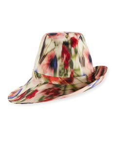 Printed Sidesweep Hat w/ Pin, Multicolor, Multi Colors - Philip Treacy