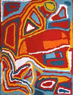 Mabel Wakarta - Yirajarra home country - 122 x 91 cm - 13-847 http://www.aboriginalsignature.com/martumiliartpeintureaborigene/peinture-aborigne-mabel-wakarta-martumili-13-847