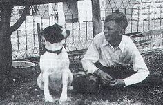 Young Charles Schulz with his pup. Snoopy?