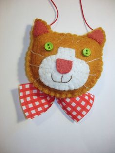 HandStitched Ginger/Orange Cat Felt Christmas Ornament by MyDisgustedCats,