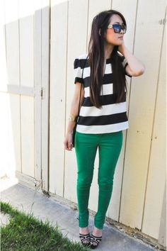 Love the green skinnies paired with a black and white striped tee