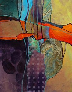 Orange Matrix, 062417 by Carol Nelson mixed media ~ 20 inches x 16 inches #abstractart