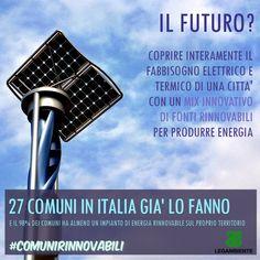 (26/03/2013) Le energie rinnovabili stanno cambiando il sistema di generazione dell'energia nel nostro Paese. Sempre più distribuita (oltre 600mila impianti, termici ed elettrici, diffusi ormai nel 98% dei Comuni italiani) e articolata su fonti differenti.  http://www.legambiente.it/contenuti/dossier/comuni-rinnovabili-2013-cresce-lenergia-verde