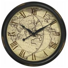 Distressed Map Large Wall Clock - modern - clocks - Bellacor