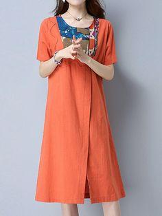 Sale 26% (23.29$) - Women Short Sleeve Patchwork Split Loose Vintage Dresses