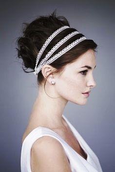 Bride's curly bun updo bridal hair ideas Toni Kami Wedding Hairstyles ♥ ❶ with Grecian headbands