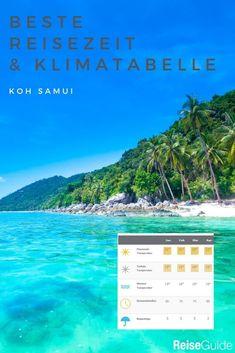 Tägliche Sonnenscheindauer, Wassertemperaturen, Regentage und mehr Infos zum Klima auf Koh Samui. #kohsamui #thailand Phuket, Bangkok, Khao Lak, Koh Samui, Koh Tao, Things To Do, Beach Friends, Best Vacation Spots, Rainy Season