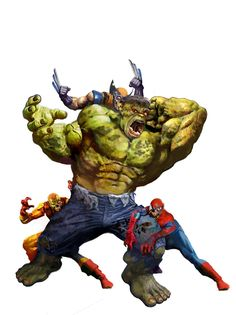 Hulk vs. Wolverine, Spiderman, and Iron Man. Zombies!