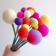 Felt Ball Flowers Felt Ball Bouquet Billy Balls by hoppsydaisy