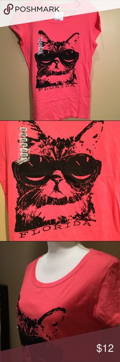 Cool Cat t-shirt Hot pink tee with cat wearing glasses. New with tags! Tops Tees - Short Sleeve