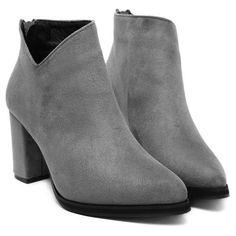 Pointed Toe Chunky Heel Flock Ankle Boots Gray ($48) ❤ liked on Polyvore featuring shoes, boots, ankle booties, gray booties, grey bootie, grey ankle booties, bootie boots and thick heel booties