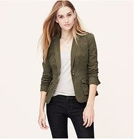 "Cotton Twill Cadet Jacket - Made with military attitude – and an almost-peplum hem – this twill style ranks highest in our wardrobe. Collared. Long puff sleeves. Notched lapel. Single button front. Button flap patch pockets. Button cuffs. Back vent. Decorative seaming throughout. 23"" long."