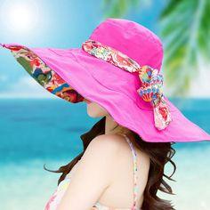 New 2017 Fashion Bohemian Style Design Flower Foldable Brimmed Sun Hat Summer Hats for Women Large Visors Beach Hat Sun Cap 3129