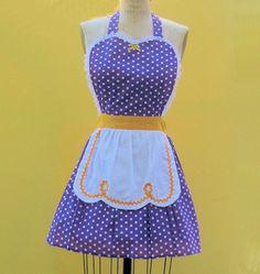 retro apron LUCY ...... RETRO purple polka dot apron with gold details sexy hostess gift Lakers  womens full apron. $29.99, via Etsy.