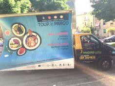 Tour in parco Santorografica - noleggio camion vela pubblicitario